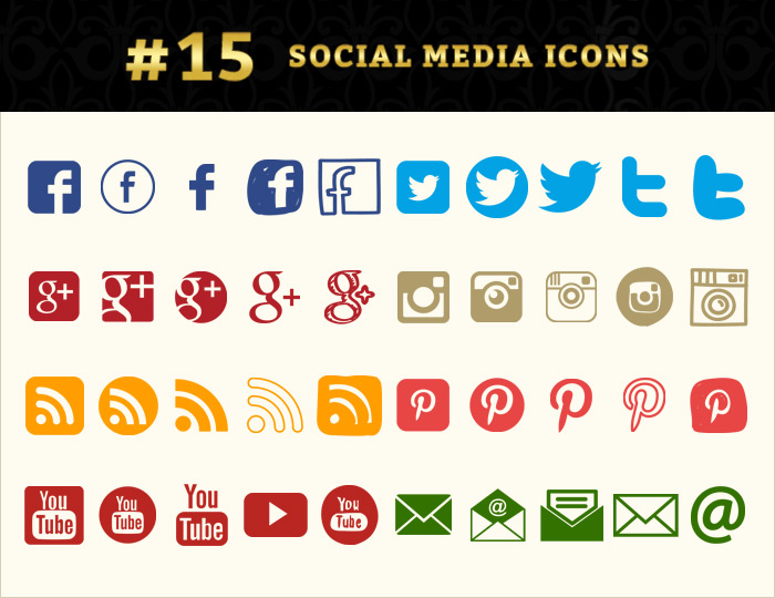 social media icons graphic pack
