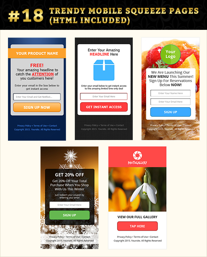 Mobile squeeze page graphics