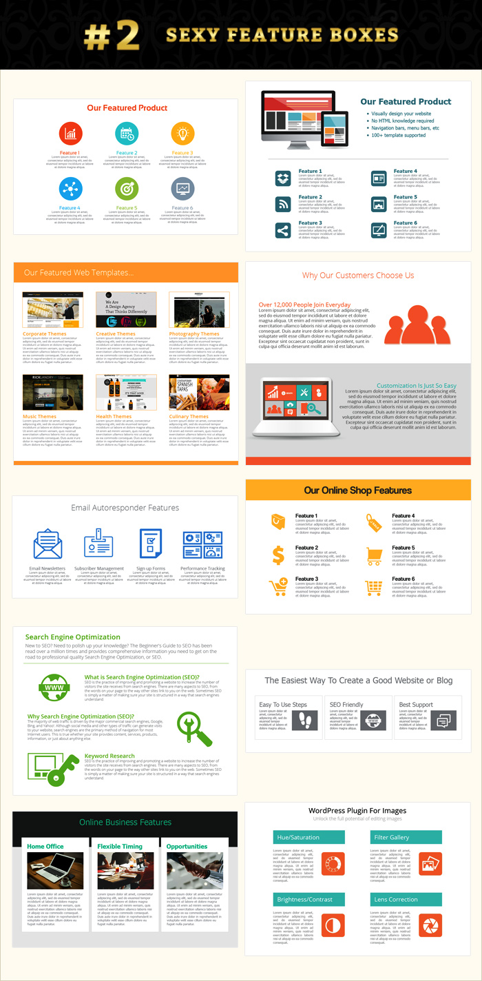 Feature boxes internet marketing graphics pack contents