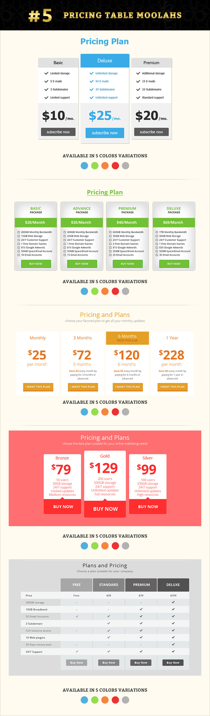 Pricing table graphics